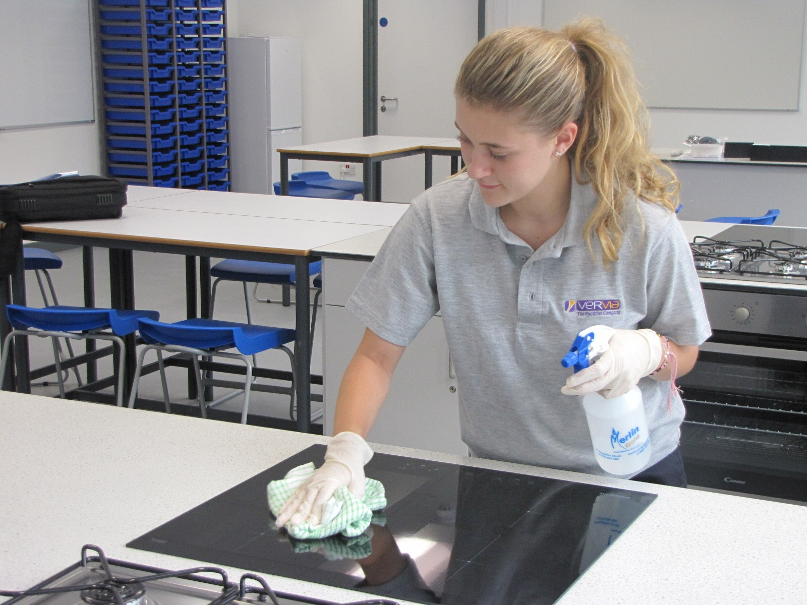 cleaning hob in classroom